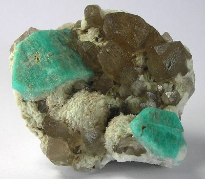 Quartz (Var: Smoky Quartz), Microcline (Var: Amazonite)
