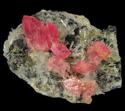 Rhodochrosite, Hubnerite, Tetrahedrite, Quartz