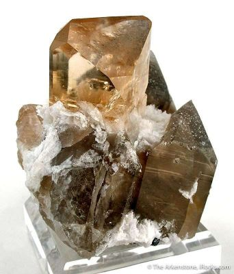 Topaz With Albite on Smoky Quartz