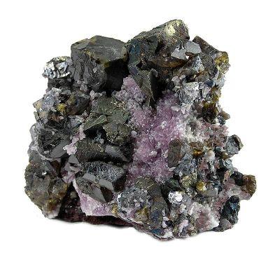 Sphalerite, Chalcopyrite, Galena, Quartz (Var: Amethyst)