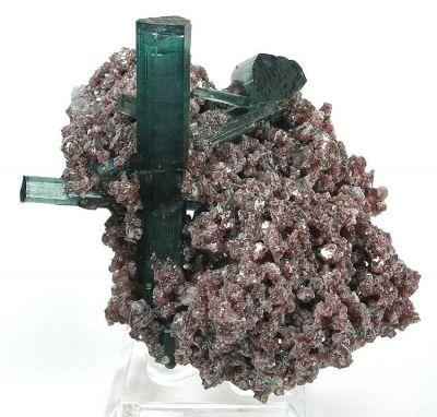 Tourmaline (Var: Indicolite), Lepidolite, Albite