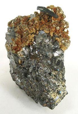 Vivianite, Siderite, Pyrite, Sphalerite