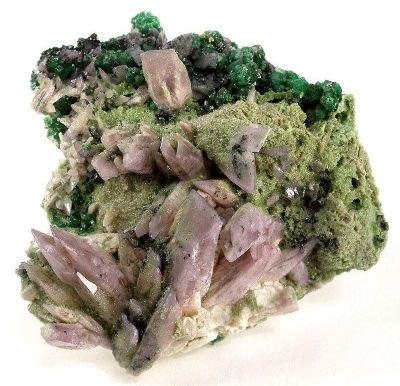 Prehnite (Manganoan) With Grossular Garnet