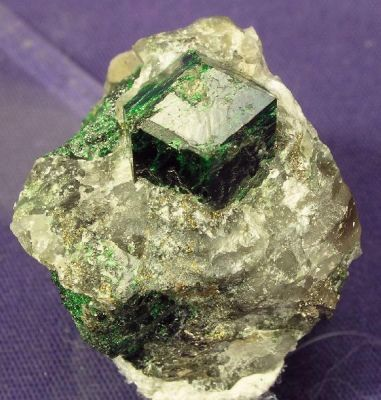 Uvarovite on Quartz