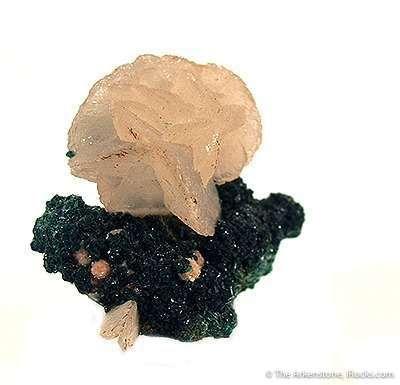 Calcite on Malachite