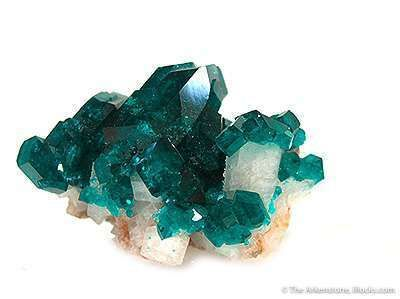 Dioptase on Calcite Rhombohedra