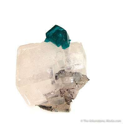 Dioptase on Calcite Rhombohedron