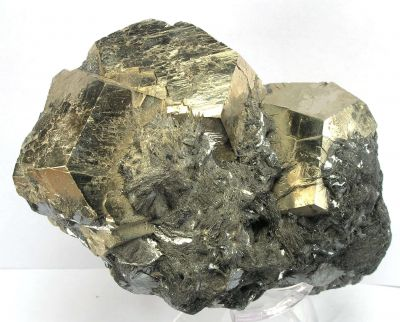 Pyrite on Galena With Hematite