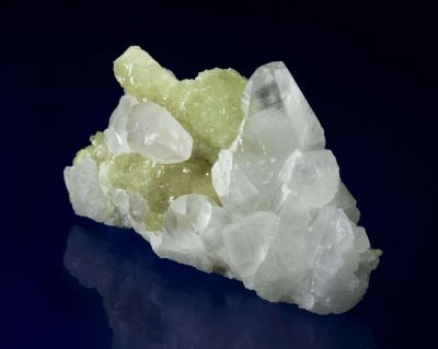 Calcite on Prehnite Cast After Anhydrite