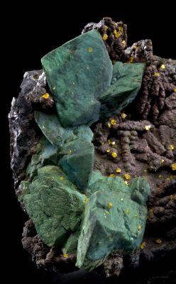 Chrysocolla Ps. Malachite Ps. Azurite With Wulfenite