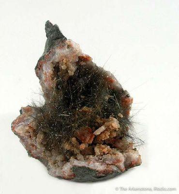 Millerite in Quartz Geode