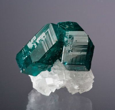 Dioptase on Calcite (Superb, Award Winning Tn)