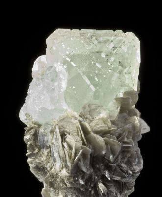 Fluorite on Muscovite With Aquamarine