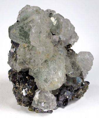 Fluorite on Pyrite and Galena