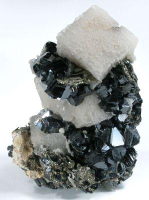 Calcite on Sphalerite and Pyrite