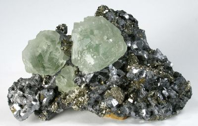 Fluorite on Galena With Pyrite Ps Pyrrhotite