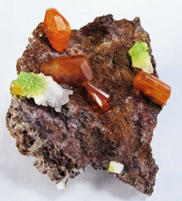 Wulfenite With Pyromorphite and Calcite