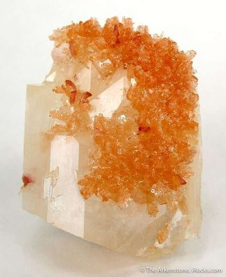 Orange Prehnite on Calcite