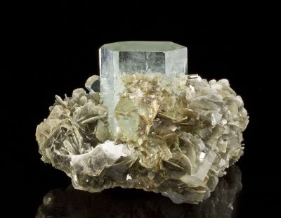 Beryl Var. Aquamarine on Muscovite