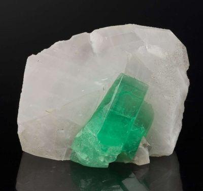Beryl Var. Emerald on Calcite