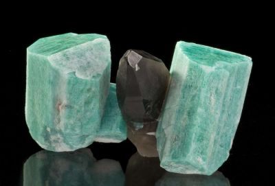 Microcline, Var Amazonite & Smoky Quartz