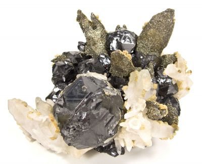 Pyrite Ps. After Pyrrhotite With Sphalerite & Quartz
