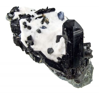 Neptunite on Natrolite