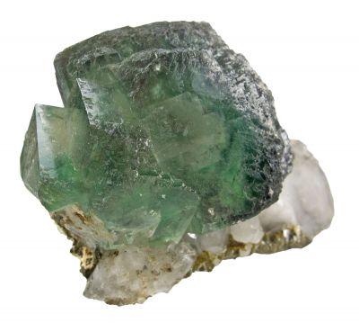 Fluorite With Chalcopyrite on Quartz