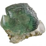Fluorite With Chalcopyrite on Quartz