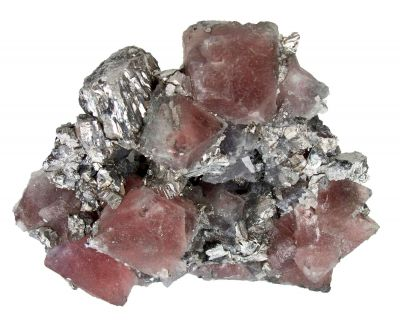 Pink Fluorite on Arsenopyrite