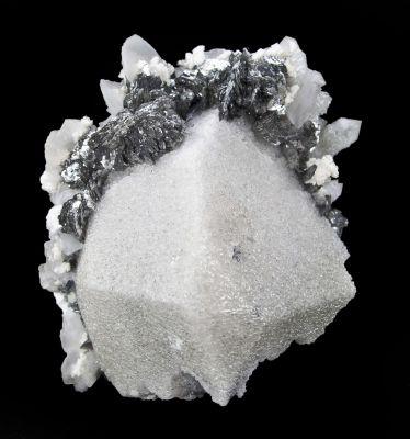 Scheelite With Lollingite, Calcite