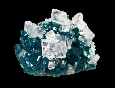 Calcite on Dioptase