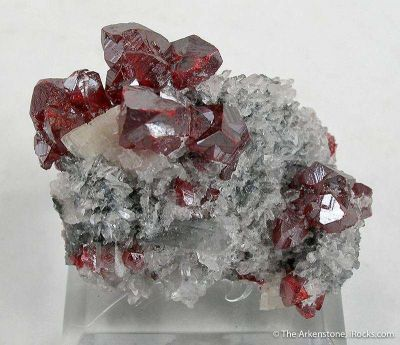 Cinnabar on Quartz With Dolomite