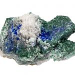 Linarite, Brochantite, Cerussite on Galena