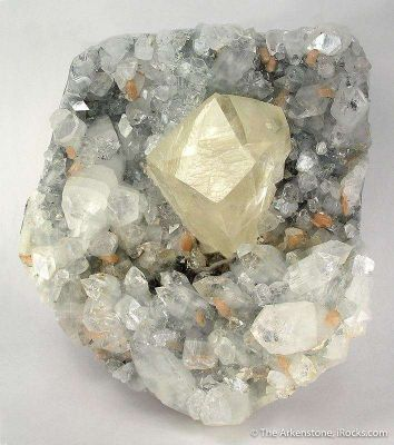 Calcite (Twinned) on Apophyllite With Stilbite