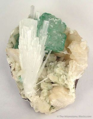 Scolecite With Apophyllite on Stilbite