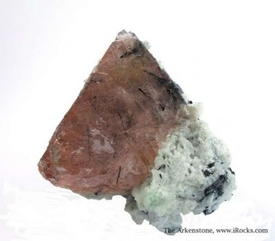 Fluorite Included By Schorl, on Albite