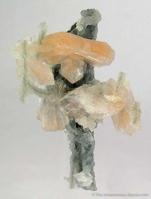 Stilbite and Heulandite on Chalcedony Stalactite