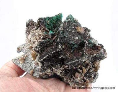 Tennantite With Wulfenite, Malachite, and Quartz