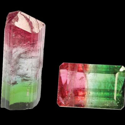 Rough Crystal and Cut Gemstone Combinations