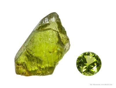 Forsterite Var. Peridot (Rough & Cut Set)