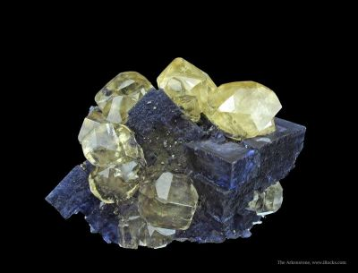 Calcite on Fluorite