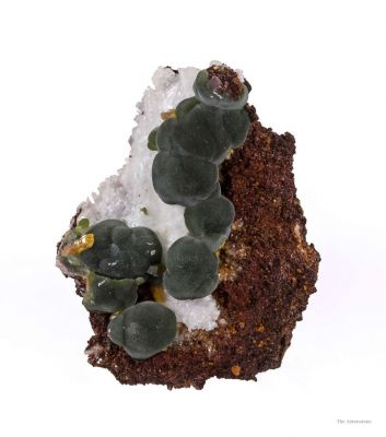 Mimetite With Wulfenite on Calcite