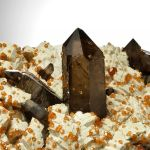 Spessartine Garnet and Smoky Quartz on Feldspar