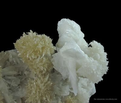 Strontianite (Two Colors) and Baryte on Sphalerite