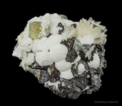 Fluorite, Sphalerite, Baryte, Calcite, Chalcopyrite
