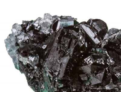 Clinoatacamite (twinned) on Quartz
