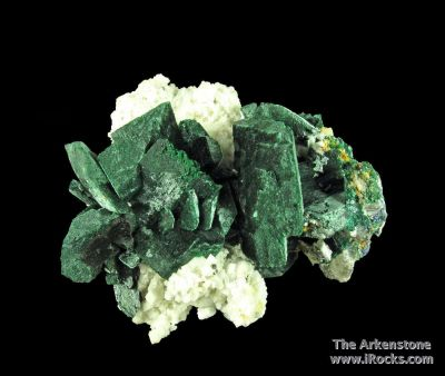 Malachite ps. Azurite on Dolomite (fl) with Cerussite