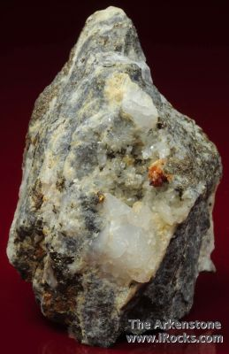 Native Gold in Quartz Vein with Scheelite, Dolomite, Pyrrhotite, and Arsenopyrite