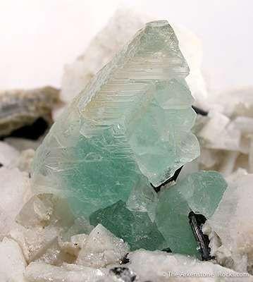 Fluorite With Schorl on Feldspar
